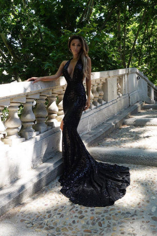 Goddess Geometric Sequin Gown - Black