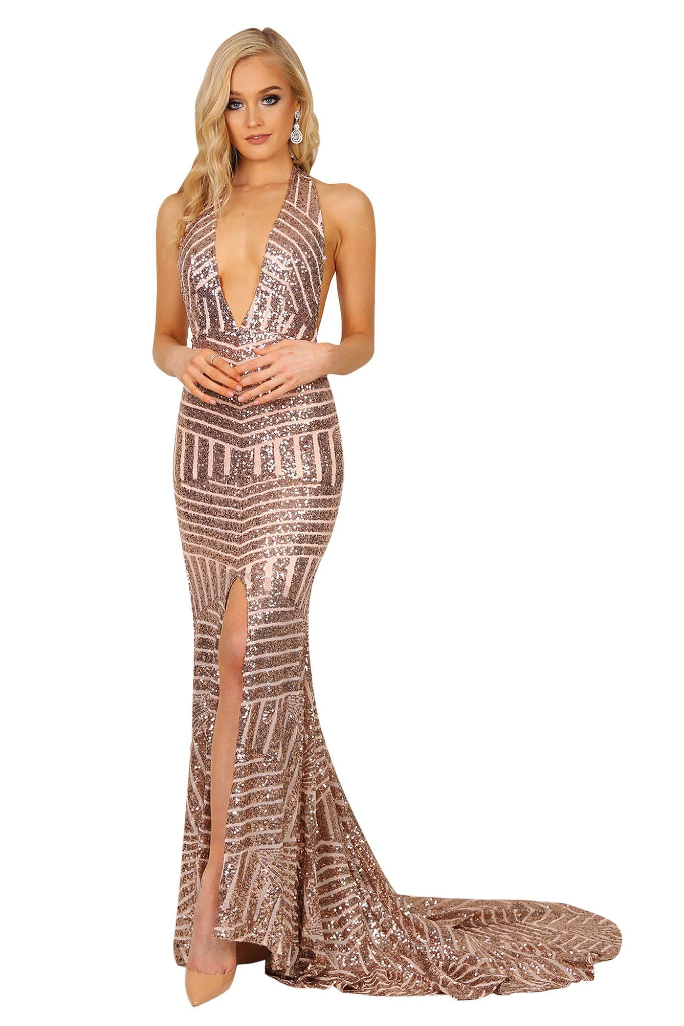 Rose gold sequin formal gown with plunging halter-neck, open back, high center front slit, and a very long train