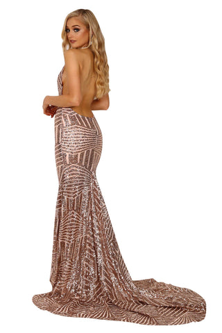 Goddess Geometric Sequin Gown - Rose Gold