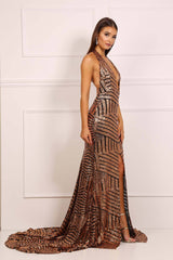 Goddess Sequins Gown - Gold