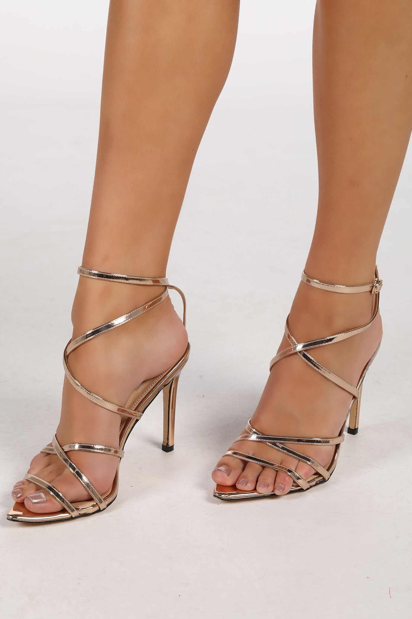 Gold Strappy High Heel Sandals