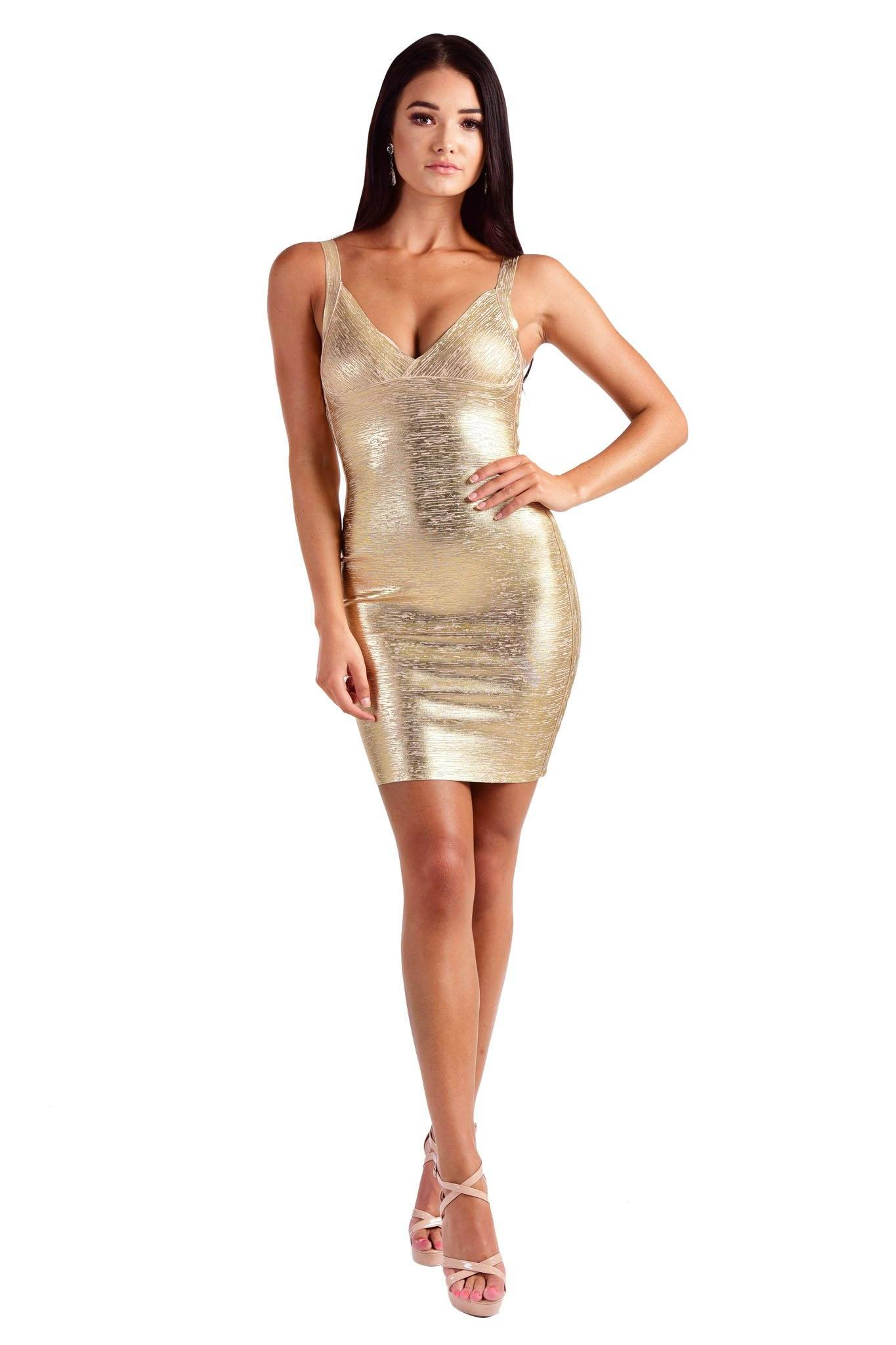 Gold Foil Sleeveless Bandage Dress in Mini Above-Knee Length featuring Deep V Neck and Full Back Zipper