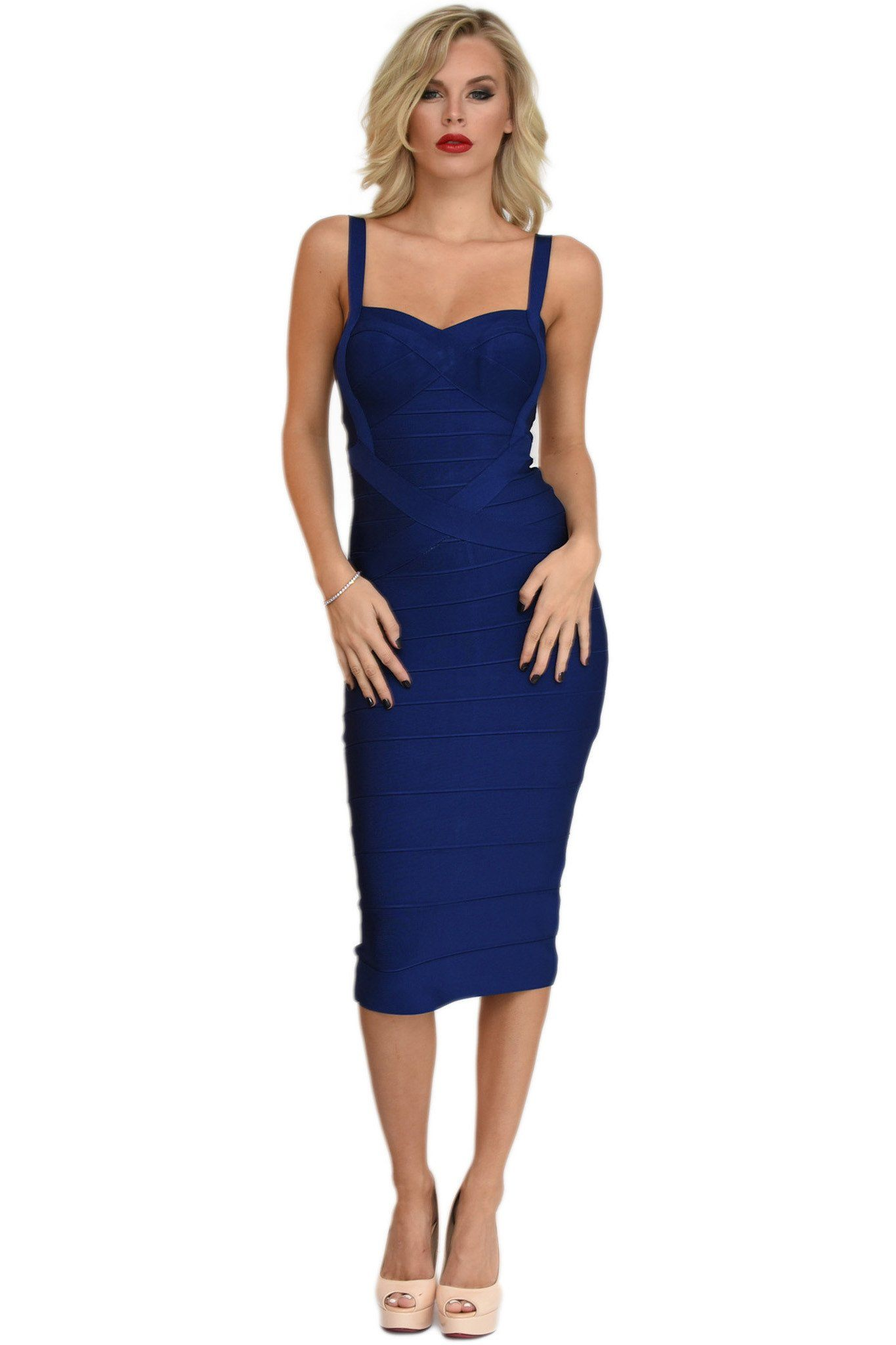 Front of navy blue midi bodycon bandage dress featuring sweetheart neckline and shoulder straps