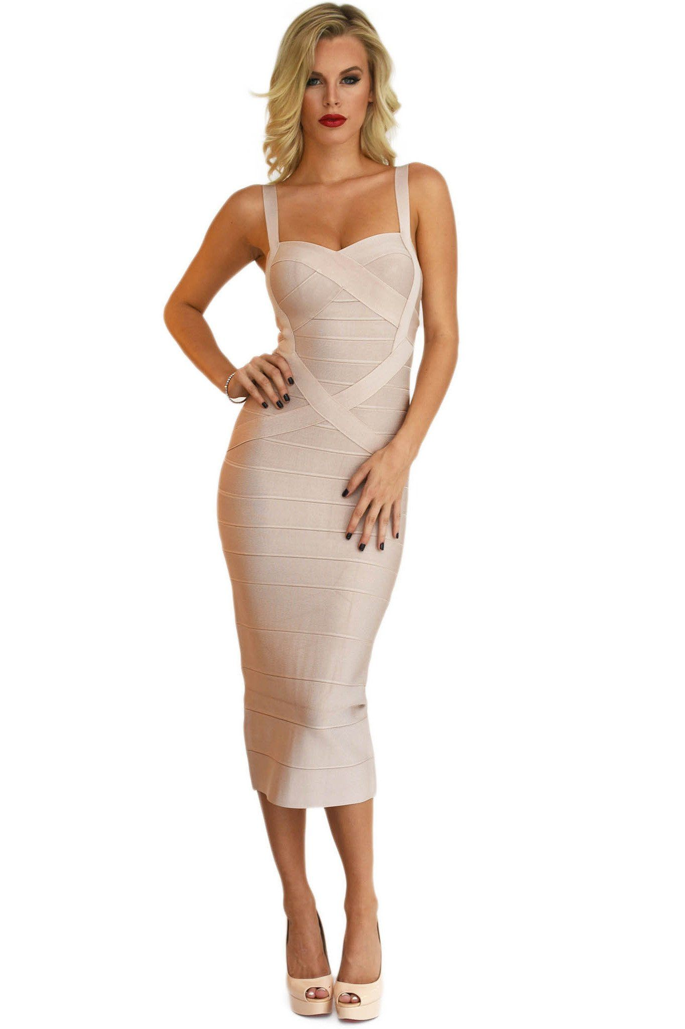 Front of nude colored midi bodycon bandage dress featuring sweetheart neckline and shoulder straps