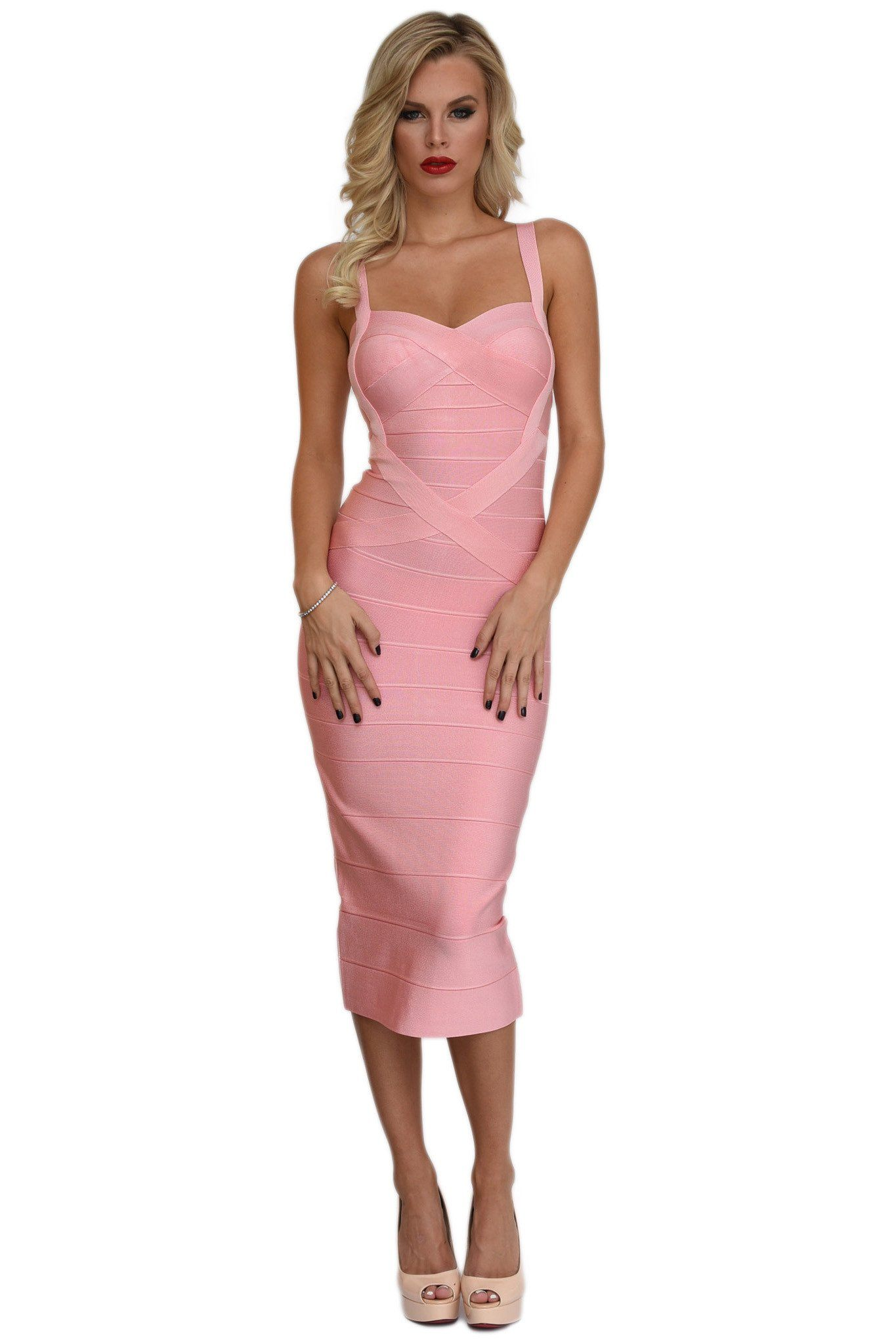 Front of blush pink midi bodycon bandage dress featuring sweetheart neckline and shoulder straps