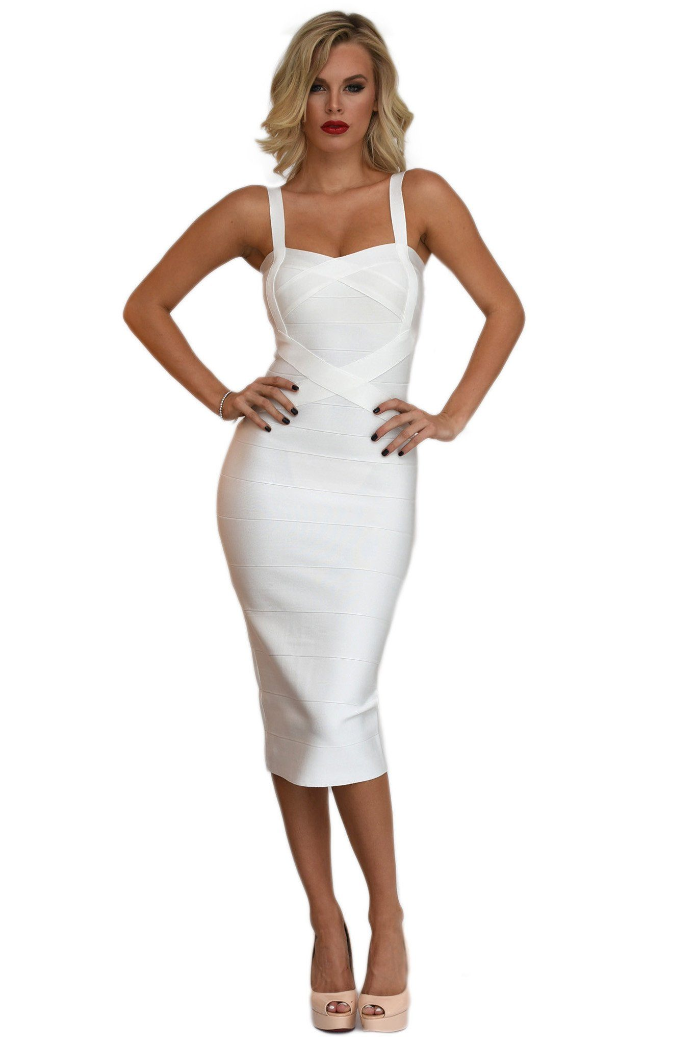 Front of white midi bodycon bandage dress featuring sweetheart neckline and shoulder straps