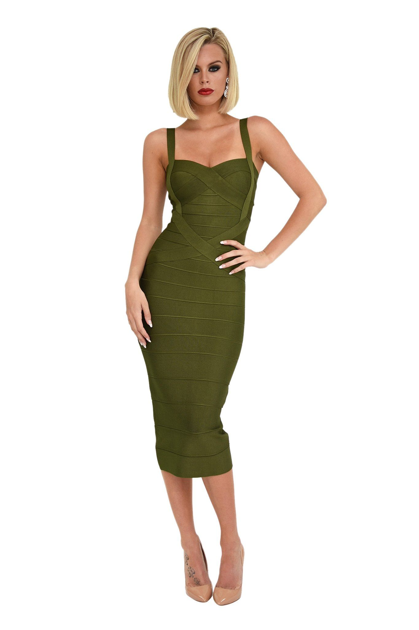 Front of olive khaki green midi below knee bodycon bandage dress shoulder straps sweetheart neckline