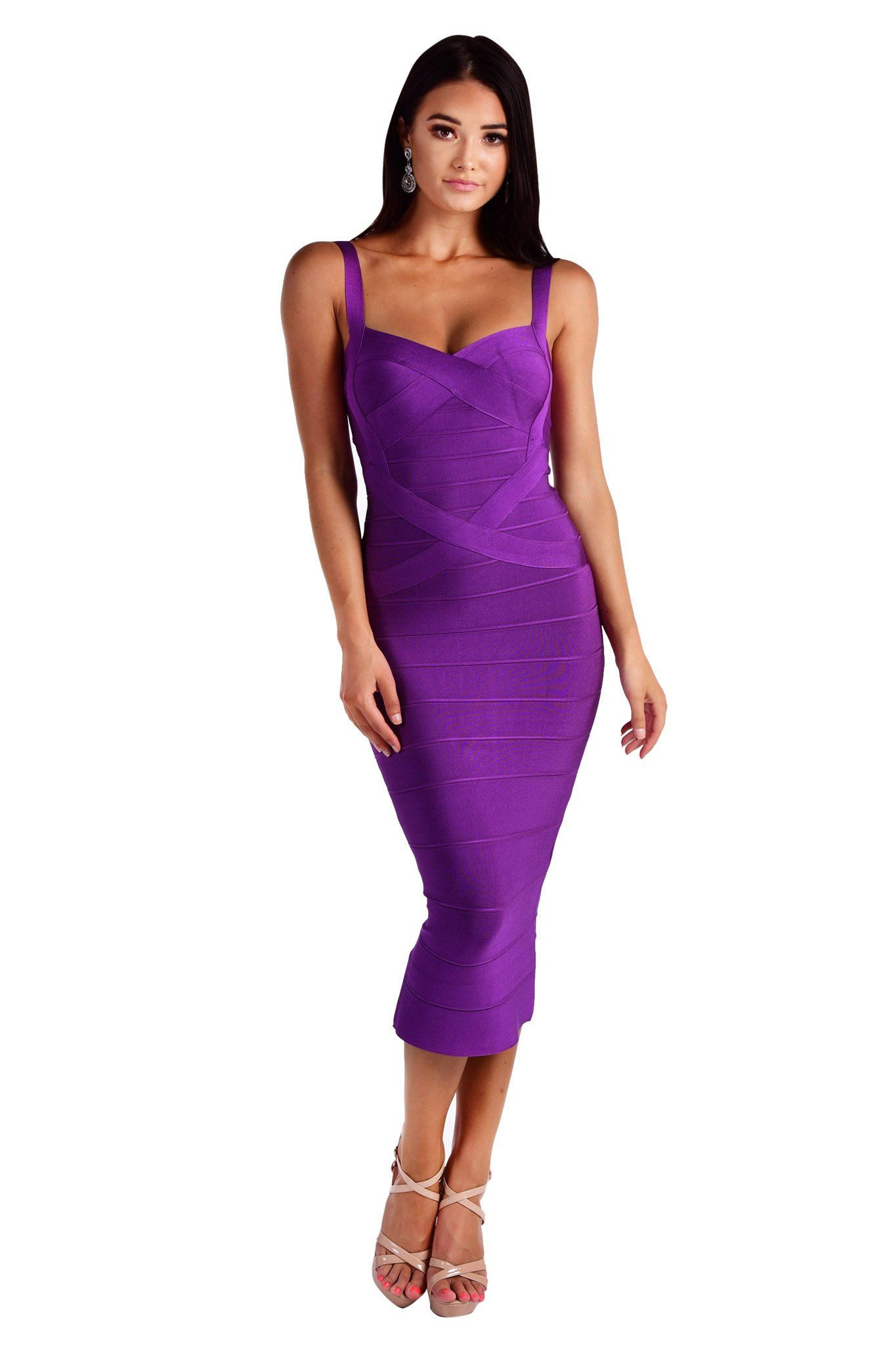 Purple colored mid-calf midi bandage dress with subtle sweetheart neckline, shoulder straps and cross bands detailing
