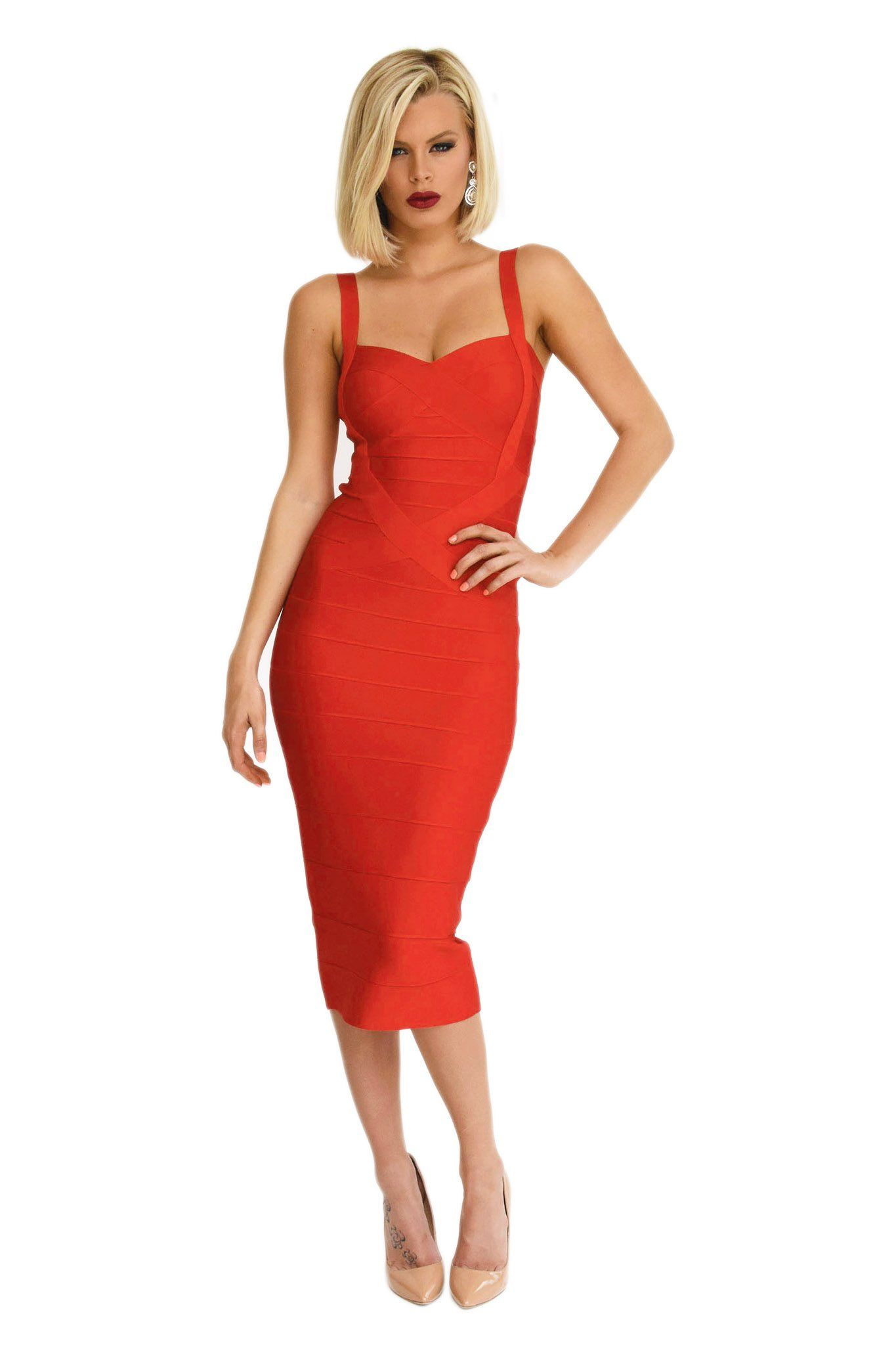 Front of red calf-length bodycon bandage dress shoulder straps subtle sweetheart neckline