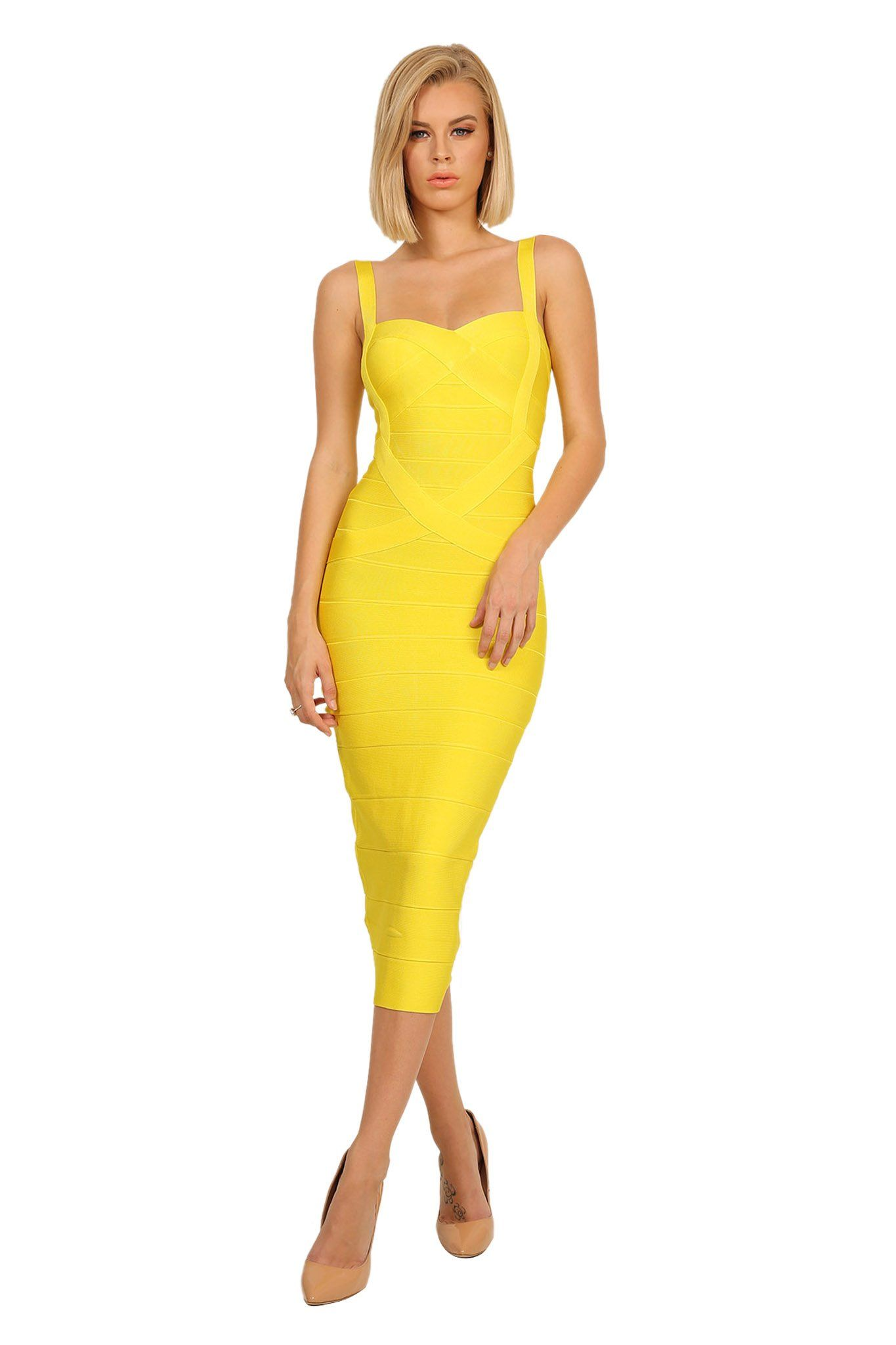 Front of midi below knee length bodycon bandage dress with thick shoulder straps in yellow color