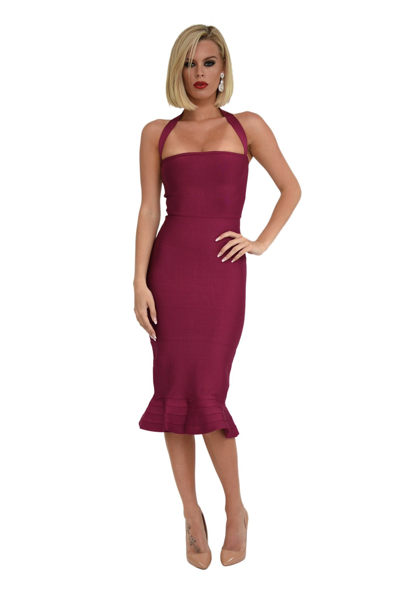 9d0caf87f1fc ... Front of berry colored midi bodycon bandage dress with fluted hem and  halterneck design ...