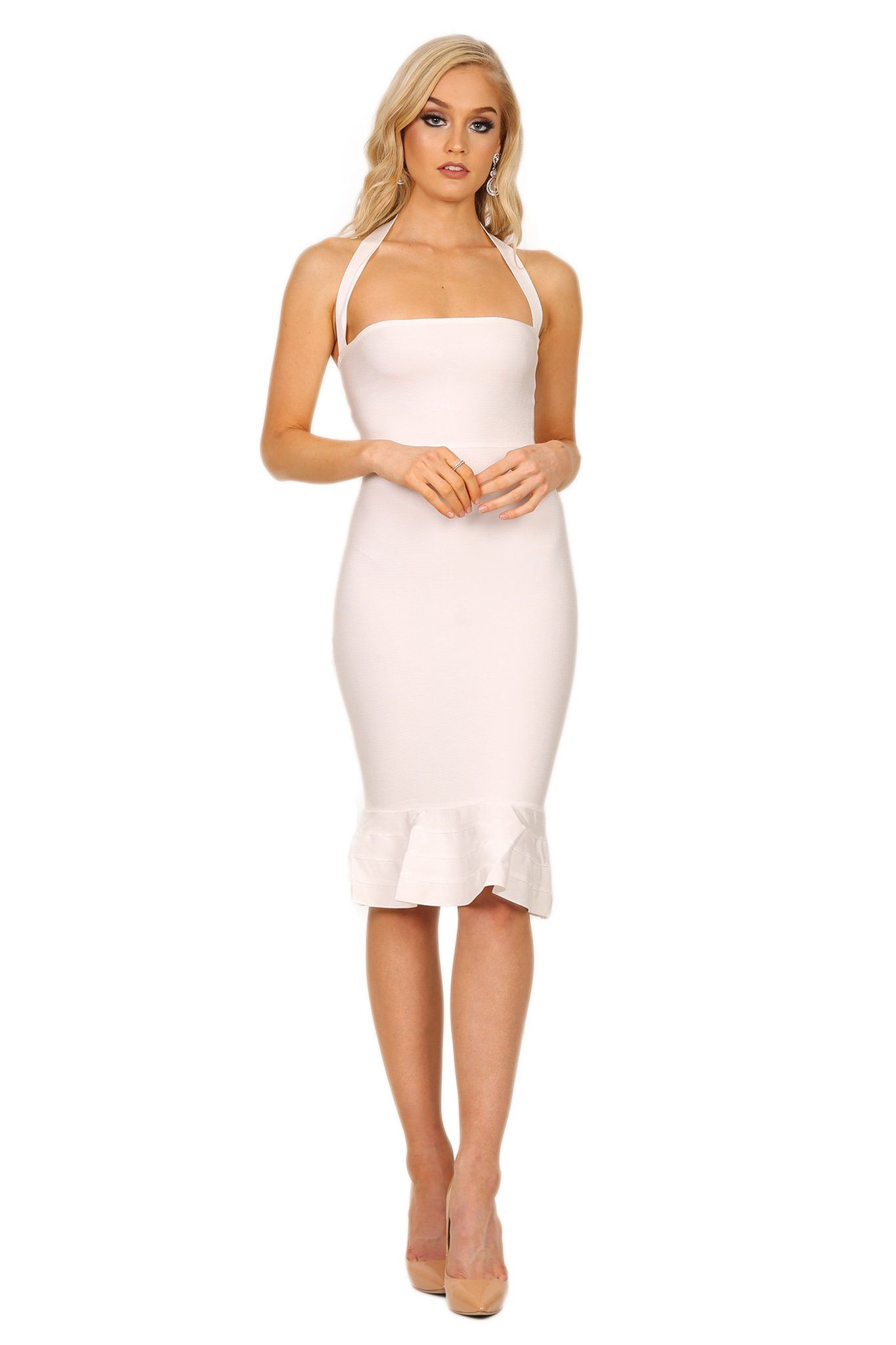 Front shot of white calf length sleeveless bandage dress with halter-neck strap and peplum fluted hem design