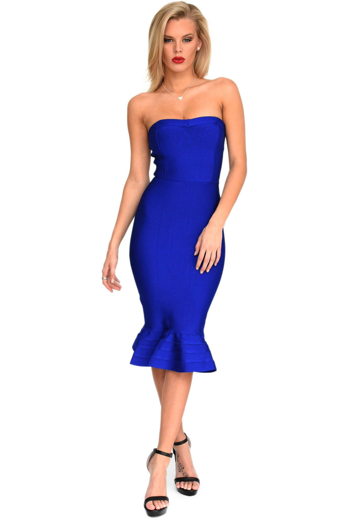 Front of navy blue strapless fluted hem midi bodycon bandage dress