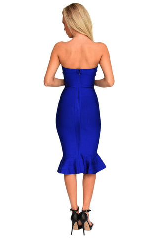 Helena Midi Below The Knee Dress in Navy Blue