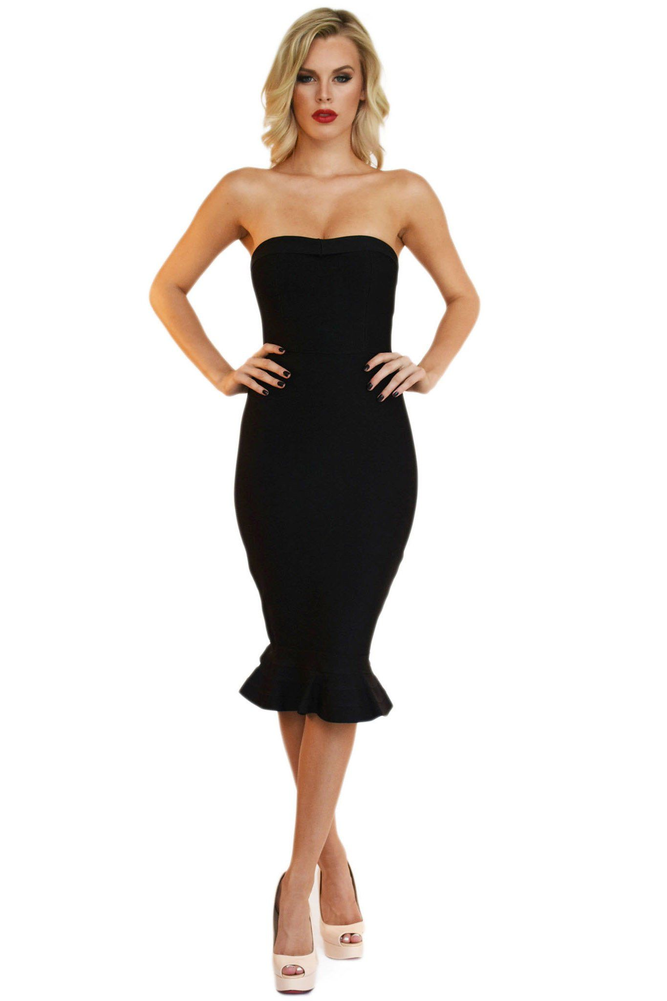 Black sleeveless strapless midi bandage dress with subtle sweetheart neckline and peplum fishtail hem design