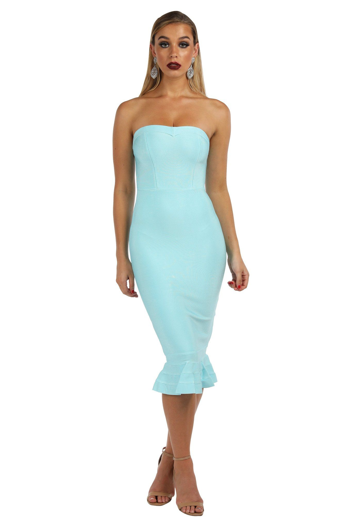 Light blue colored strapless bandage dress with fluted hem design in midi below knee length