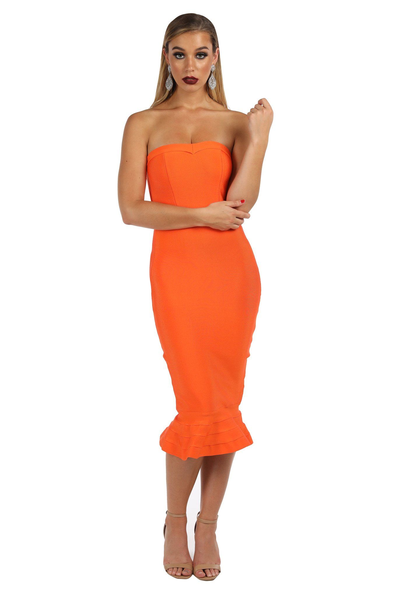 Bright Orange colored strapless bandage dress with fluted hem design in midi below knee length