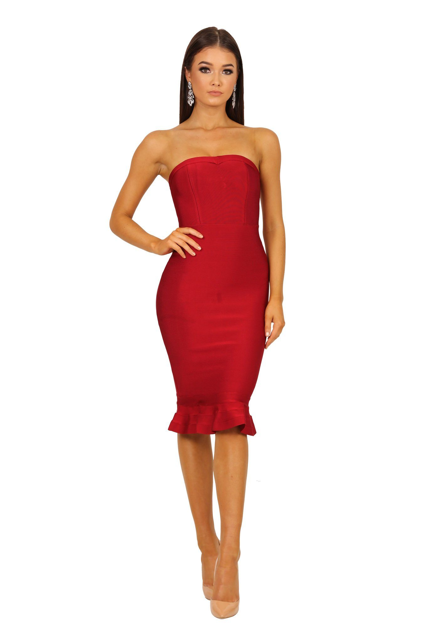 Wine red strapless bandage dress with fluted hem design in midi length
