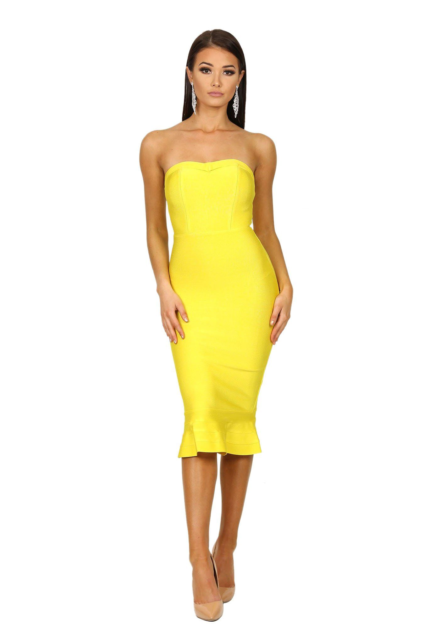 Strapless midi bodycon bandage dress with fluted peplum hem design in bright yellow color