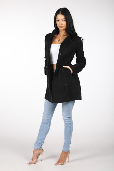 High Collar Wool Blend Coat - Black