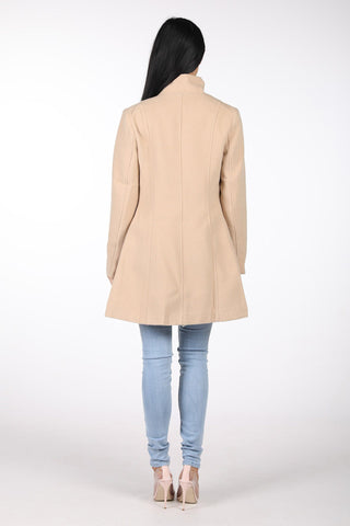 High Collar Wool Blend Coat - Camel