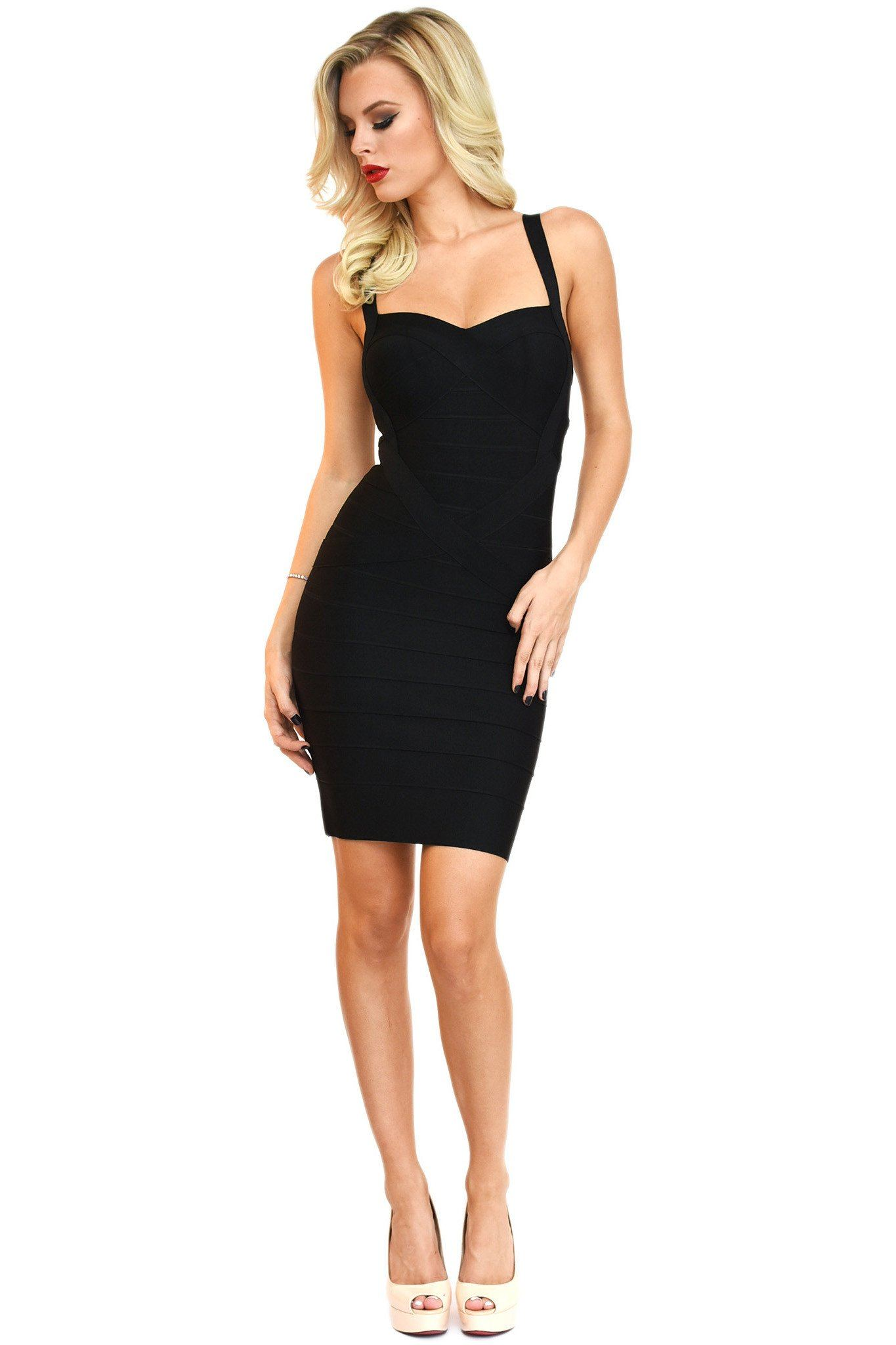 Front of black mini bodycon bandage dress with shoulder straps and sweetheart neckline