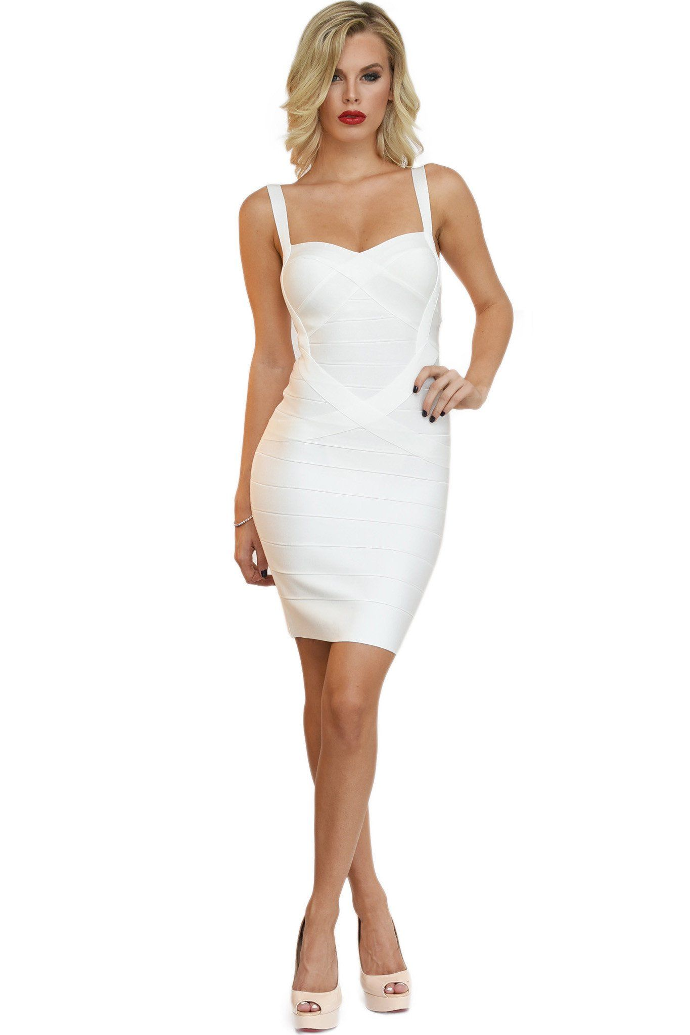 Front of white mini bodycon bandage dress with shoulder straps and sweetheart neckline
