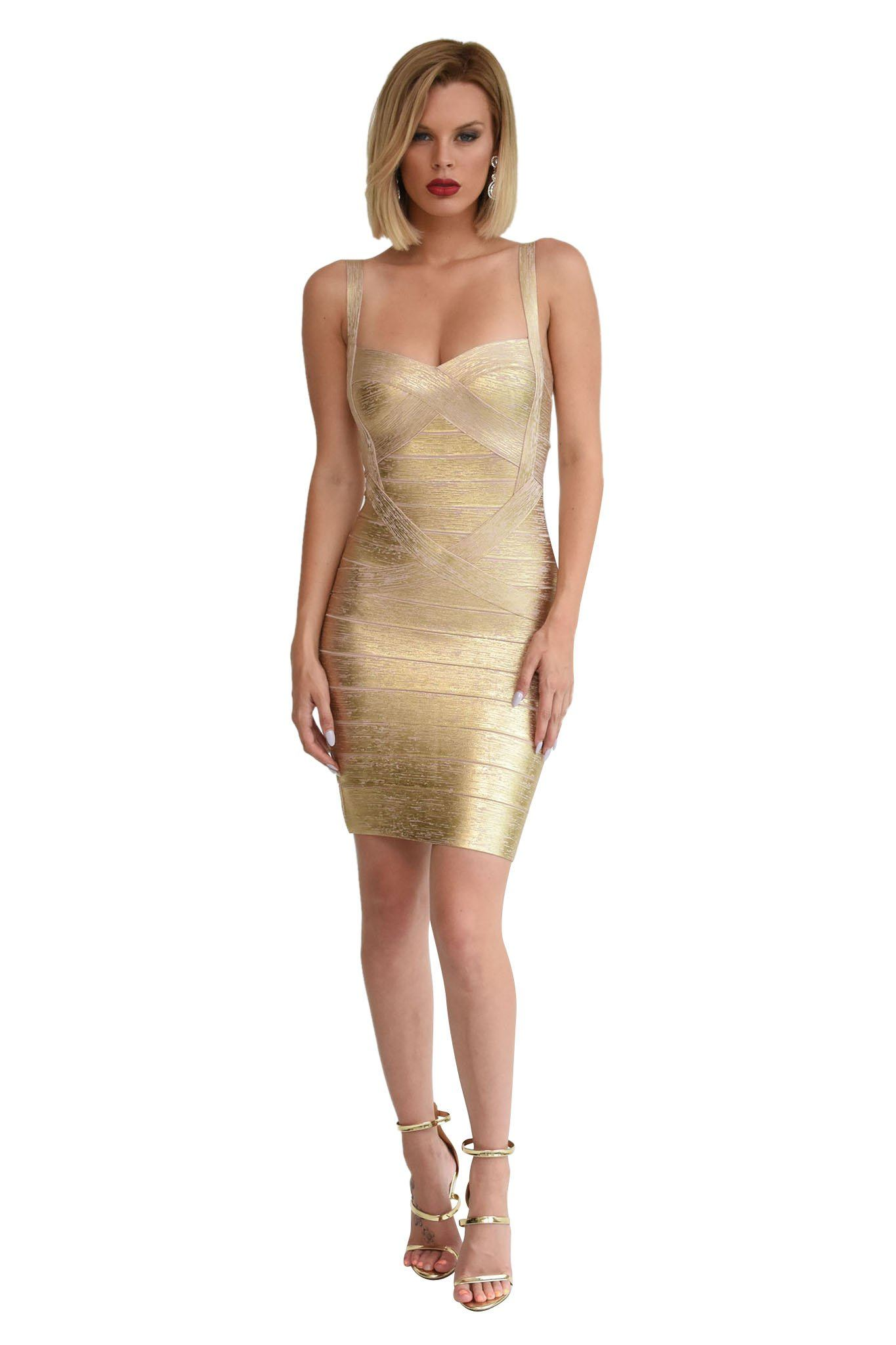 Front shot of metallic gold mini bandage dress subtle sweetheart neckline shoulder straps