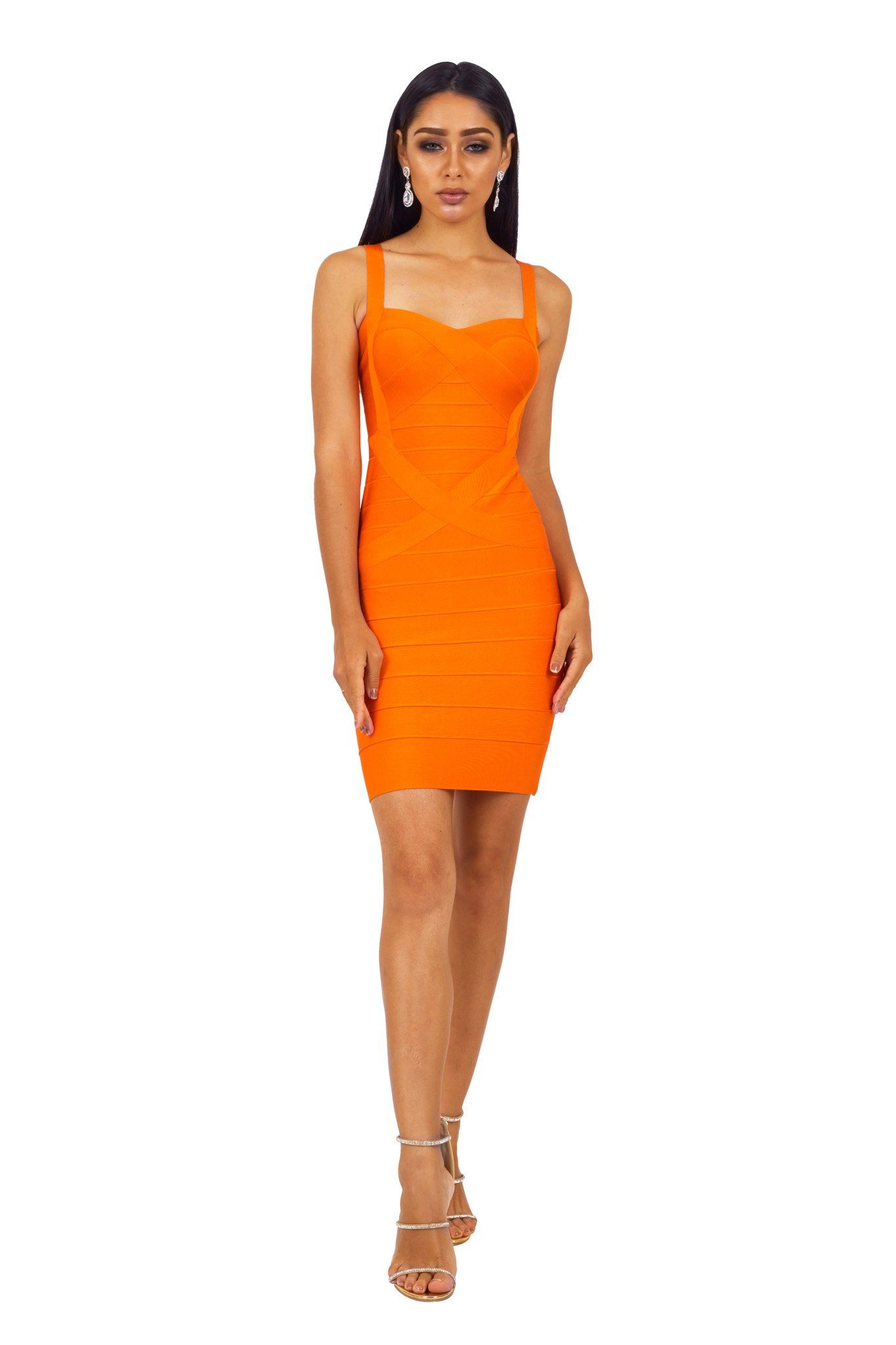 Front of orange colored mini bodycon bandage dress with shoulder straps and sweetheart neckline