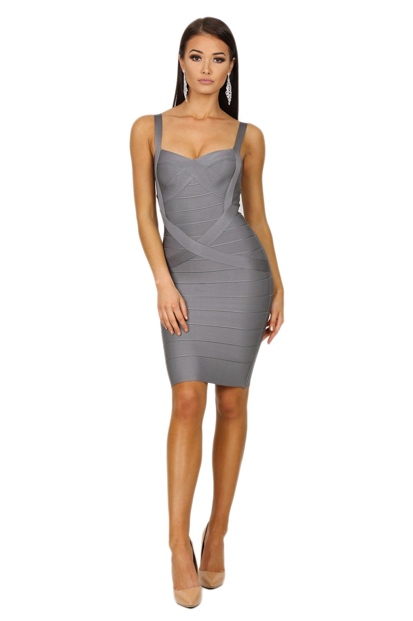 Mini bandage dress subtle sweetheart neckline shoulder straps in grey color
