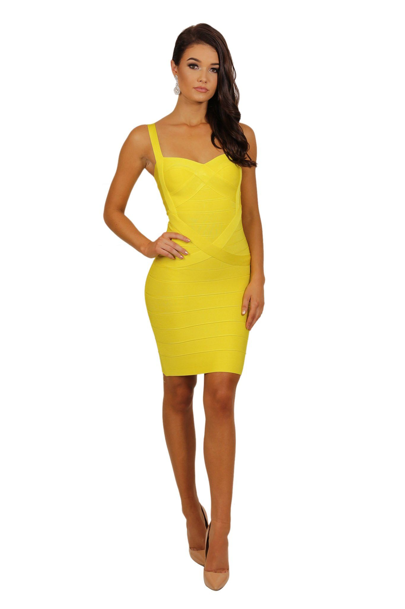 Mini bandage dress subtle sweetheart neckline shoulder straps in yellow color