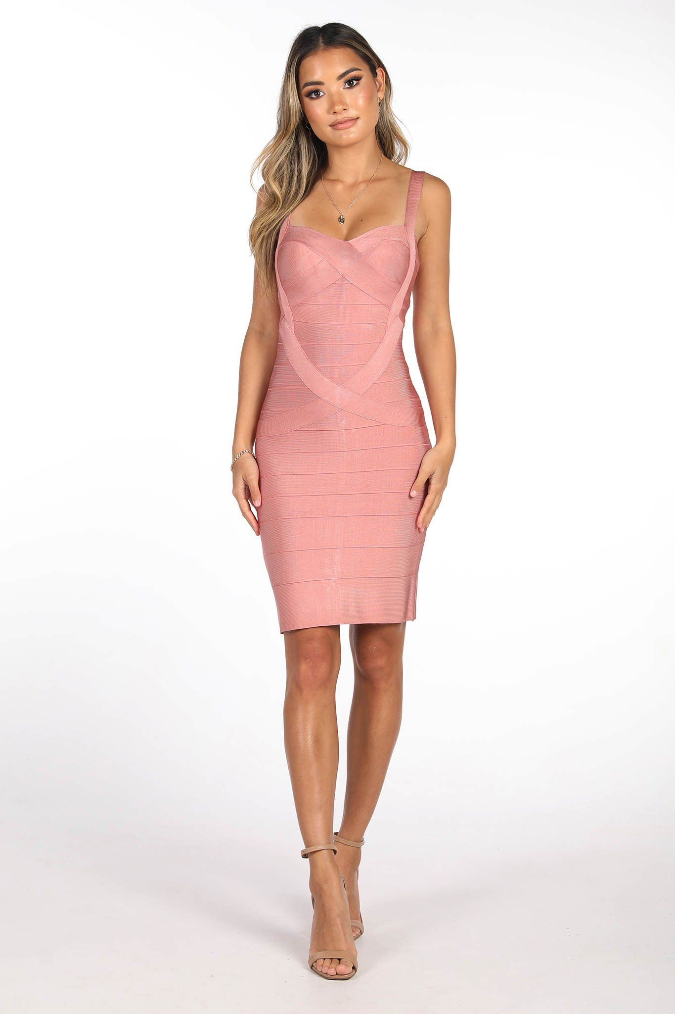 Tea Rose Coloured Mini  Bandage Dress  with Shoulder Straps and Sweetheart Neckline