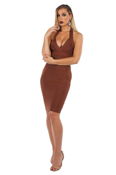IVY Halter Bandage Dress - Chocolate