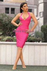 IVY Halter Bandage Dress - Hot Pink