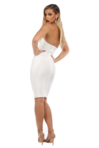 IVY Halter Bandage Dress - White