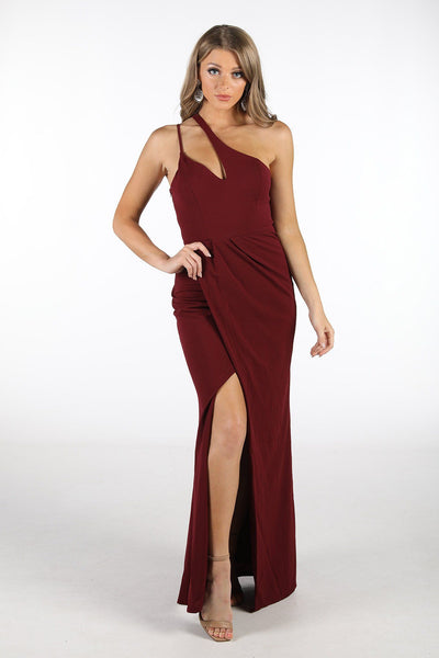 Imogen Asymmetrical Neck Maxi Dress with Split - Burgundy
