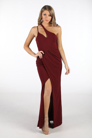 Imogen Asymmetrical Neck Maxi Dress with Split - Deep Red