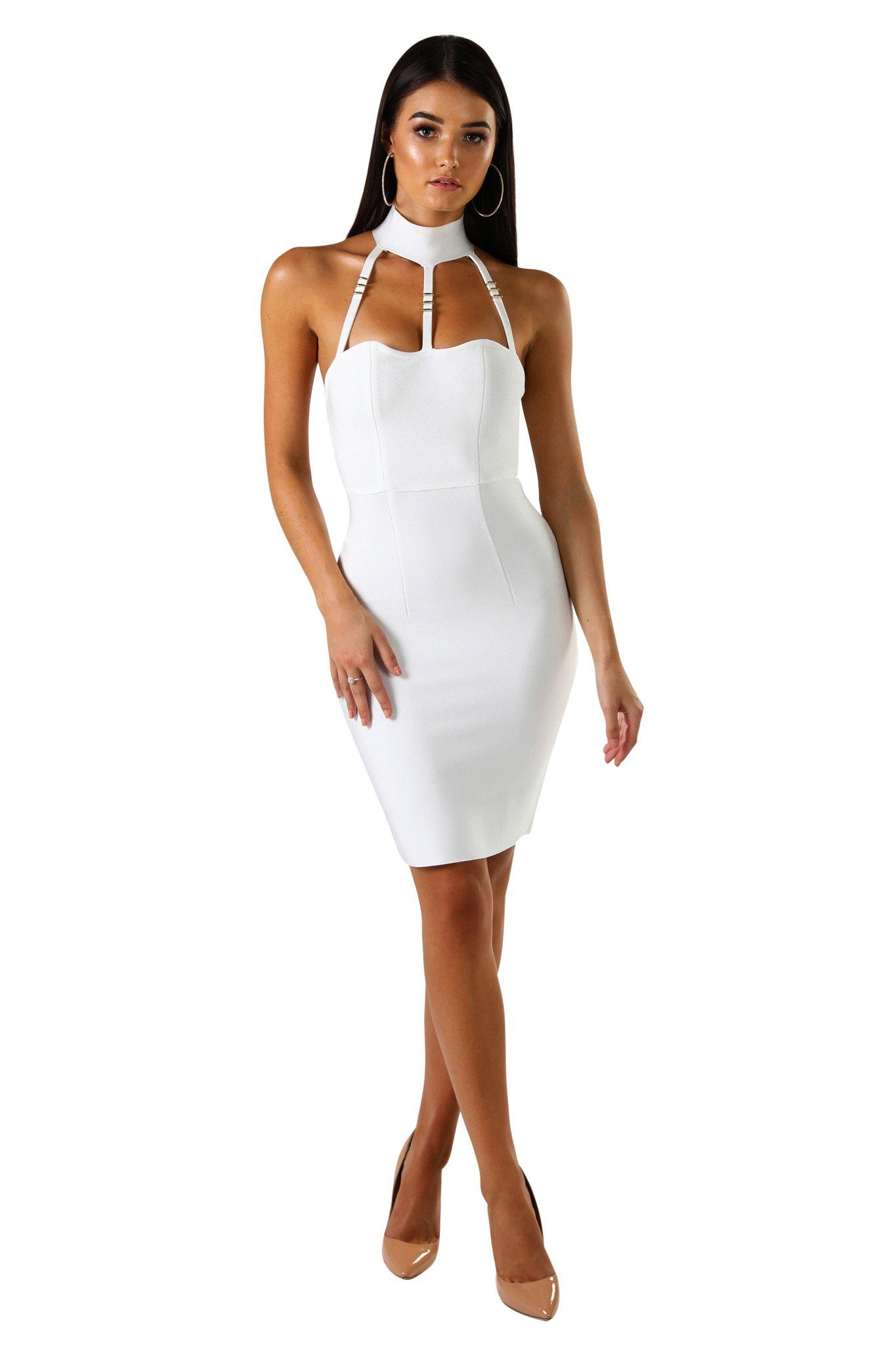 White sleeveless knee-length bandage dress with strappy choker neck design
