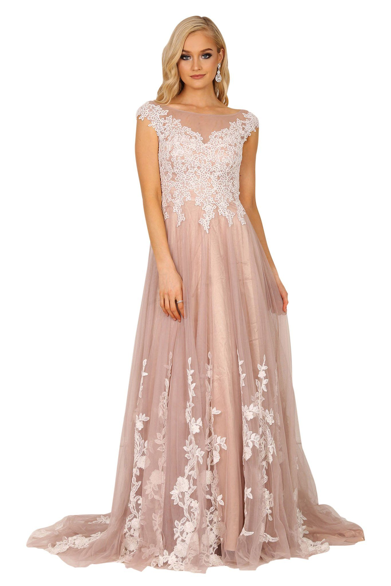 Light brown coloured evening gown features A-line layered tulle skirt, white floral lace applique over beige/light brown mesh, see through back and sweep train