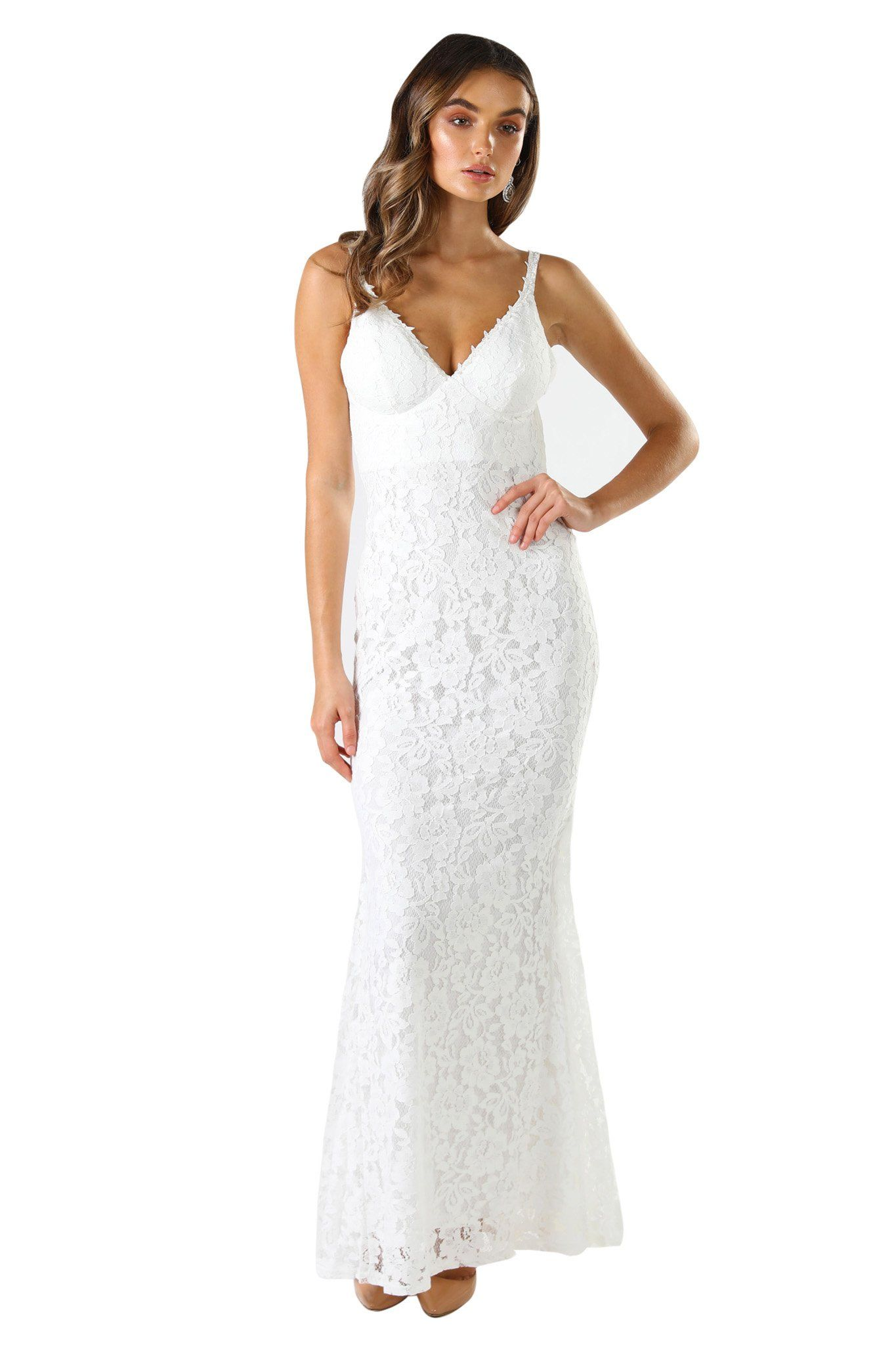 White sleeveless lace fitted maxi formal dress V neck, shoulder straps, V shaped backless design