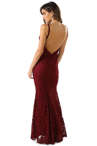 Ivana Lace Dress - Wine Red
