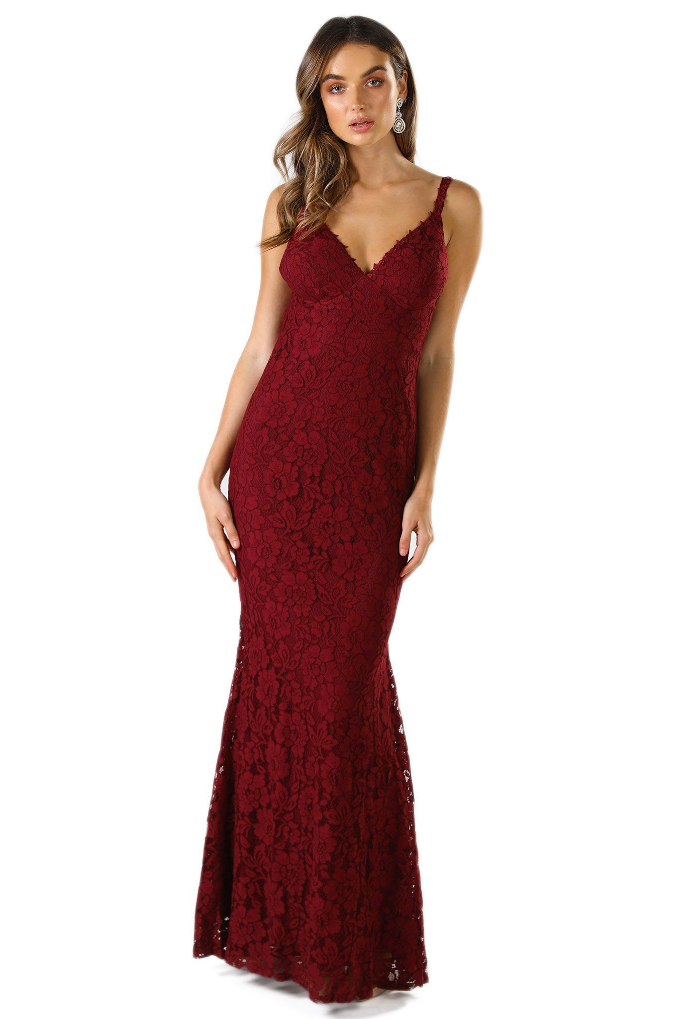 Wine red sleeveless fitted lace maxi dress with V neck, shoulder straps and low cut V shaped back design