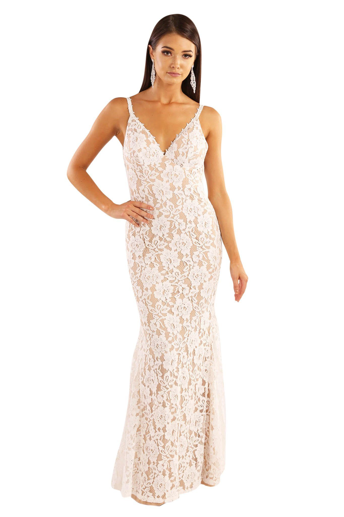 White sleeveless lace overlay with beige lining fitted maxi formal dress V neck, shoulder straps, V shaped backless design