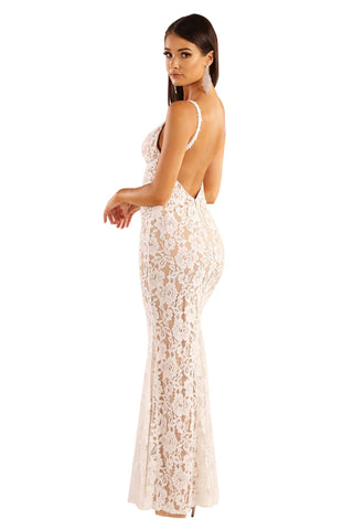 Ivana Lace Dress - White/Beige