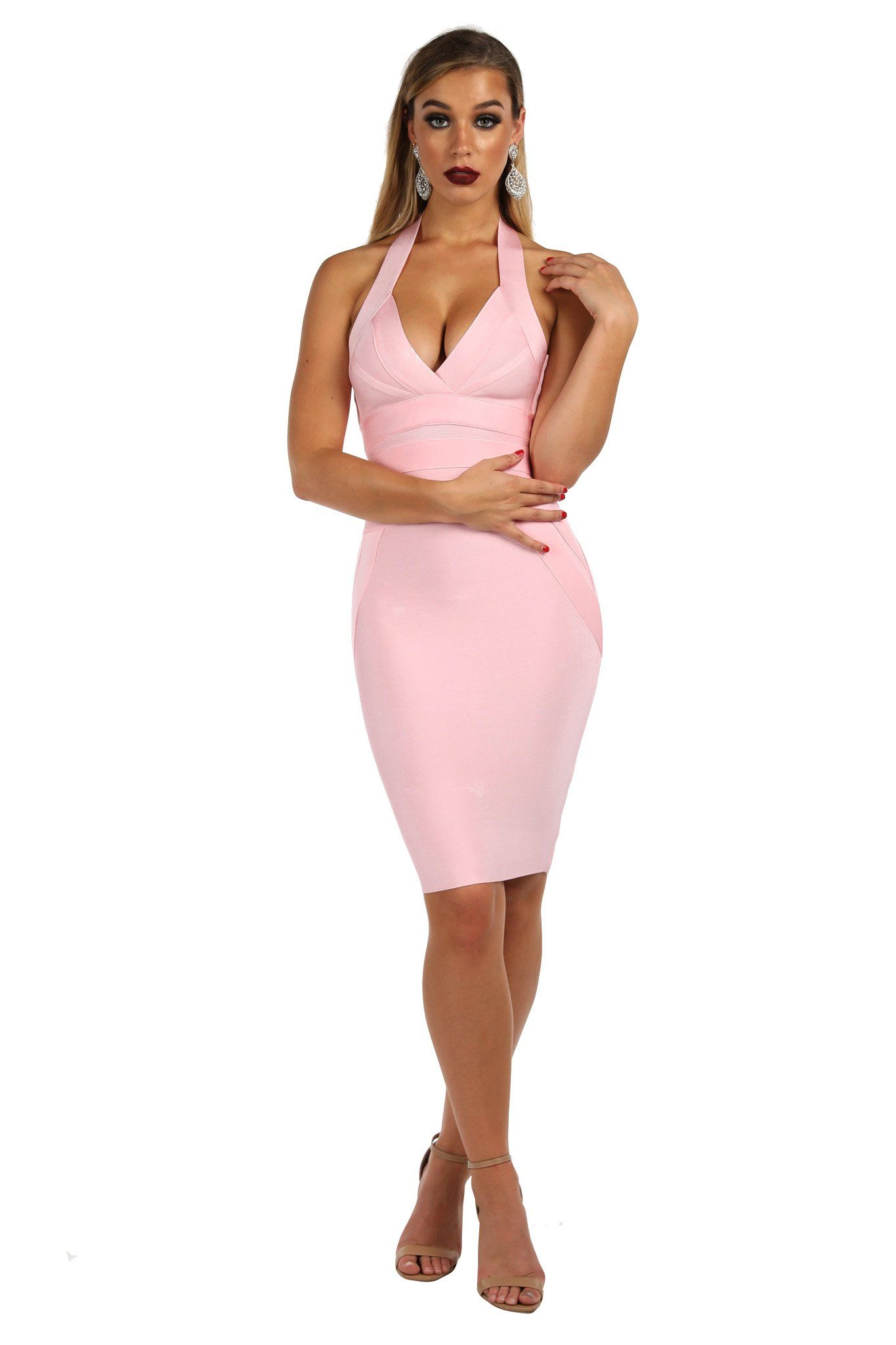 Pink tight fitted bandage dress in knee length with plunging halter neckline and open back design