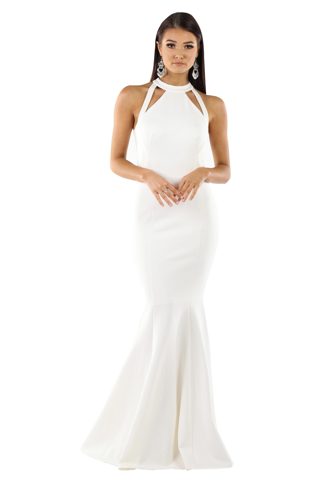 Front of White fitted sleeveless maxi floor length gown with cutouts and flared mermaid skirt