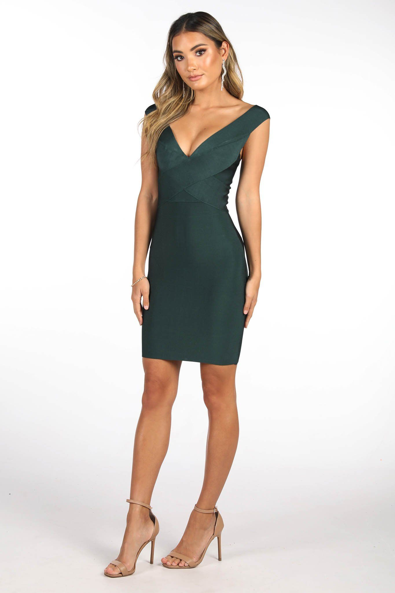 Deep Green Mini Bandage Dress with Deep V Neckline, Thick Shoulder Straps and Body-hugging fit