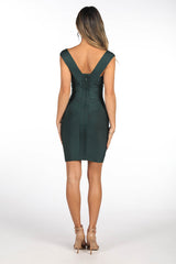 Back Image of Mini Bandage Dress with Deep V Neckline, Thick Shoulder Straps and Body-hugging fit