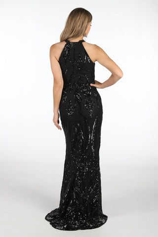 Jaylah High Neck Sequin Gown - Black