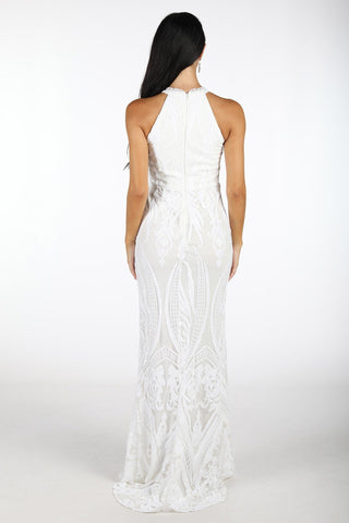 Jaylah High Neck Sequin Gown - White